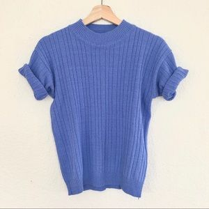 VINTAGE PERIWINKLE BLUE PETITE SWEATER T-SHIRT